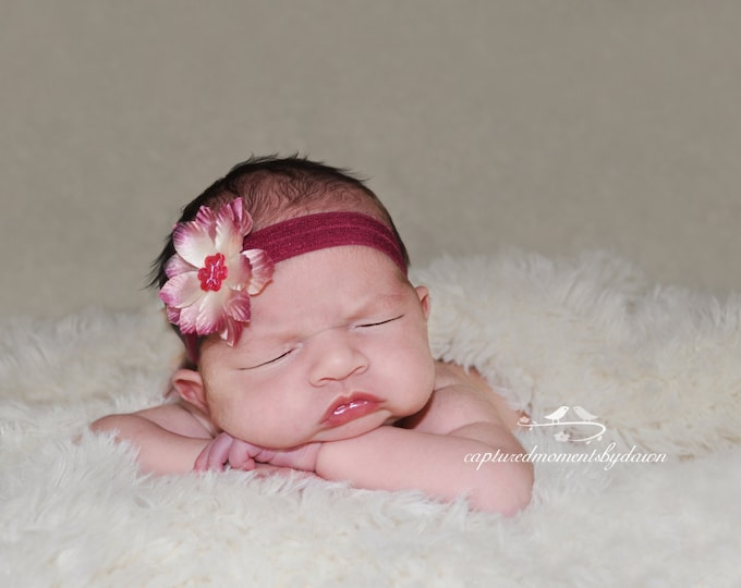 Burgundy and Ivory, perfect for Fall -  for newborns, perfect for photo shoots, plum, ivory, hairband, hair band, headband