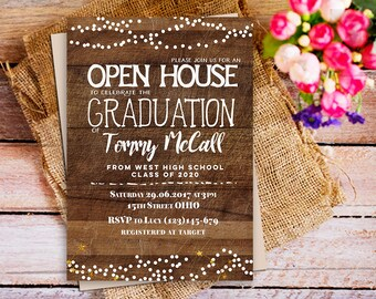 open house graduation invitation, rustic wood graduation invitation, Rustic Graduation Brunch Invite, Custom Graduation Party Announcement
