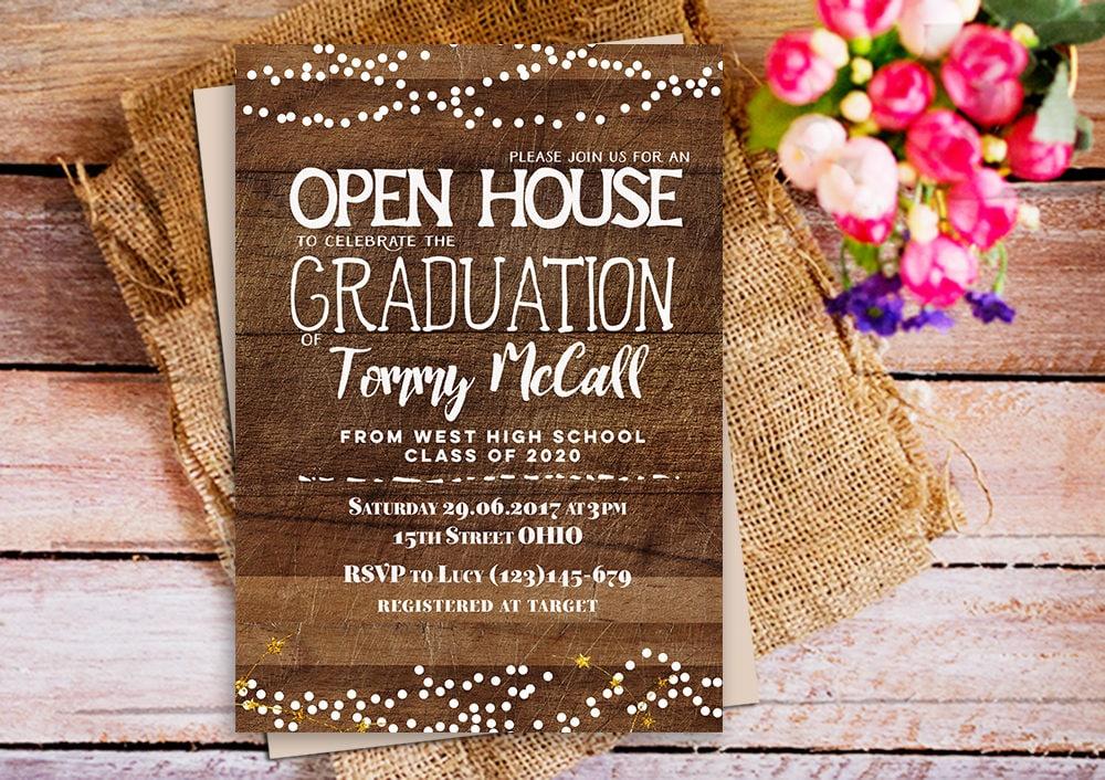 open house graduation invitation rustic wood graduation