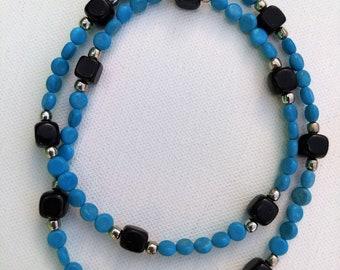 Tiny Blue Coins w/ Blackstone Beads