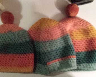 Girls Hand Crocheted Beanie Hats