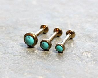 Triple Helix Flat Back Barbells,Turquoise Stone Bronze Titanium ASTM F-136,Triple Forward Helix,Internally Thread, 16G 18G,Cartilage Earring