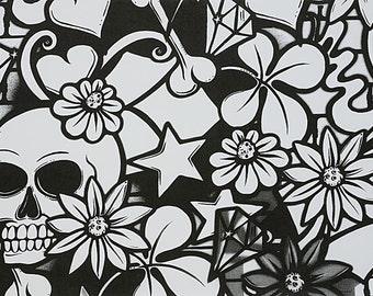Street Skull Black and White cotton fabric by Alexander Henry Fabrics