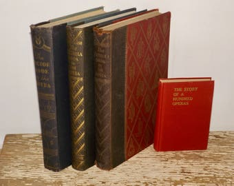 Opera books,antique books,Victrola Book of the Opera,set of 4,early 1900s,Story of a Hundred Operas,illustrations,gold lettering,ornate book