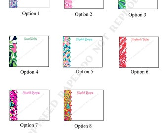 Lilly Pulitzer note card, personalized flat note cards, Lilly Thank You Note, Lilly stationery with name, Lilly Pulitzer stationary