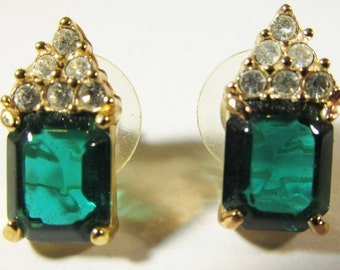 Vintage 1970s Signed Roman Emerald Green and Clear Rhinestone Earrings