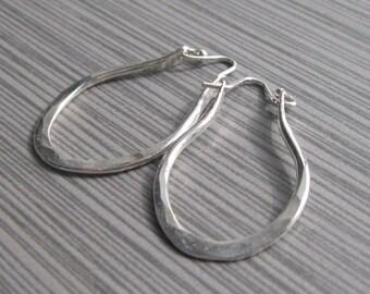 Artisan Hammered Sterling Silver Hoops, Handmade Hoop Earrings by Liz Blanchflower, boho hoop earrings, hammered silver