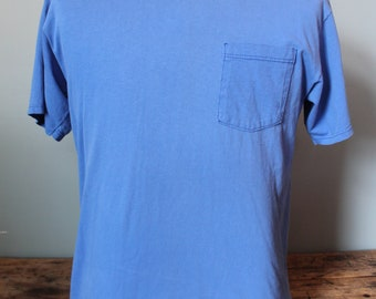 Vintage 90s Blue Pocket T-Shirt | Faded | Size Medium | Made in USA