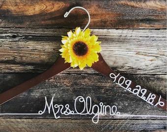 Custom Wedding Hanger with one sunflower and date, Wedding Hanger, Bridal Hanger