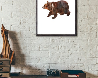 Watercolor Brown Grizzly Bear Animal Digital Download Printable Home Decor Rustic