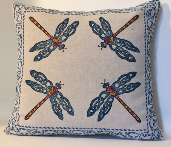 Dragonfly Farm house linen pillow | Block printed Decorative Pillow Cover | 18 inches Pillow Cover | Linen cushion | Dragonfly home decor