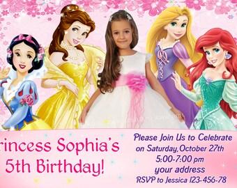SALE Disney Princess Birthday Invitation, Disney Princess Invitation, Princess Invitation, girls Birthday Invitation- Digital file