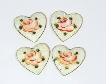 Vintage Enamel and Brass Hearts with Roses