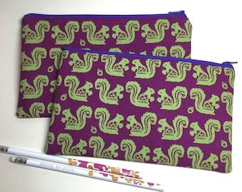 Pencil Case Zip Pouch - Squirrels and Acorns
