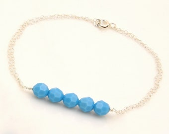 Soft Peach or Turquoise Bracelet Handmade // Simple Bead Bar Bracelet for Women // Female Gifts Under 25