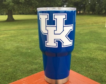 University of Kentucky Yeti 30oz Powder Coated Tumbler with NEW Spill Proof Lid-Mirror Blue with White UK decal