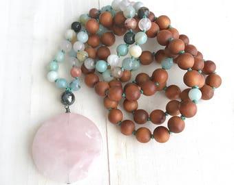 Rose Quartz Mala Beads, Mala Necklace For A Positive Attitude, Sandalwood Amazonite Mala Necklace, Hand Knotted 108 Bead Mala, Yoga Beads