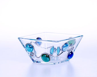 """Square Glass Candy/Nut Bowl (4.5 """")"""