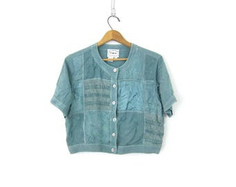 90s Crop Top Blue Rayon Tee Button Up Cropped Blouse Embroidered Belly Shirt Vintage Blouse Womens Size Small Made in India