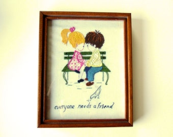 Adorable Best Friends Theme Vintage Framed Art Crewel Embroidery Wall Hanging  Art Cottage Chic Home Decor Housewarming Gift for Friend