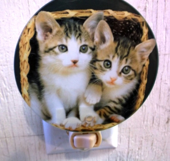 2 kittens night light, cute cat light, pretty night light, decorative light,  pretty kittens light, bathroom light, kitchen night light