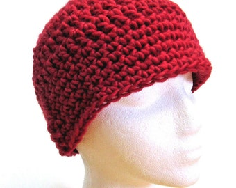 Womans Red Wool Beanie Hat Cap, Thick, Chunky, Woolen, Cloche, Birthday Gift, Warm, Mans, Handmade Crochet knit, Unique Gift, Spring