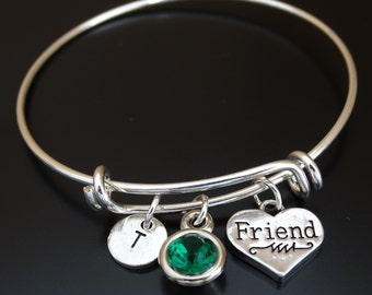 Friend Bangle Bracelet, Adjustable Expandable Bangle Bracelet, Friend Charm Bracelet, Friend charms,BFF Bracelet, BFF Jewelry, Best Friends