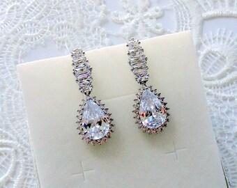 Bridal Earrings Wedding Earrings Bridesmaid Earrings Gift Bridal Jewelry Drop Earrings Crystal Wedding Jewelry Silver Teardrop Long Earrings