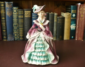 1950's Porcelain Figurine Of A Lady In A Crinoline Dress