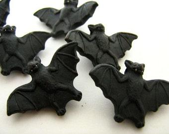 10 Large Black Bat Beads