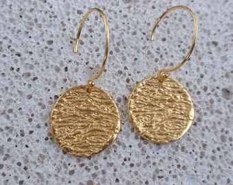 gold drop earrings disc circle round gold dangle earrings sterling silver 24k gold plated bridemaids earrings every day wear gift