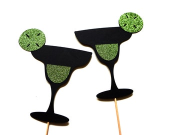 Photo Booth Props - Set of 2 Margarita Glass Photo Booth Props - GLITTER Photobooth Props