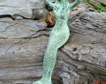 Marvelous Mermaid Statue   Cast Iron Statue, Mermaid Nursery Decor, Mermaid Figurine, Mermaid  Garden
