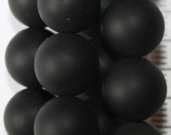 """Shungite Beads - Round 10 mm Gemstone Beads - Full Strand 15"""", 40 beads, Matte finish"""