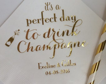 Personalized Napkins Shower Engagement Wedding Custom Monogram Luncheon also Available! It's a Perfect Day to Drink Champagne Printed