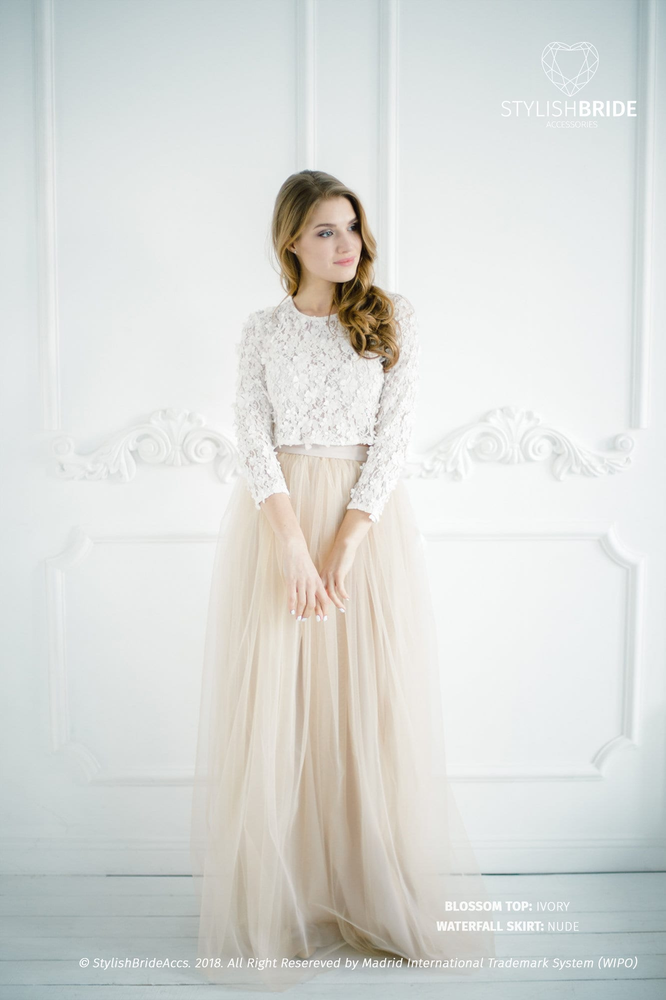 Blossom Nude Lace Dress Top and Tulle Skirt in Nude color