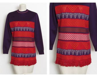 Vintage 70s Tunic / Purple and Red Striped / Geometric Pullover Shirt w/ Fringe Hem
