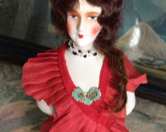 Antique German Composition Half Doll, Adorned in Antique Silk, Beading and more