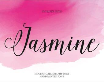 Calligraphy Font Handwritten Script Wedding Watercolor Instant Download - Jasmine Font
