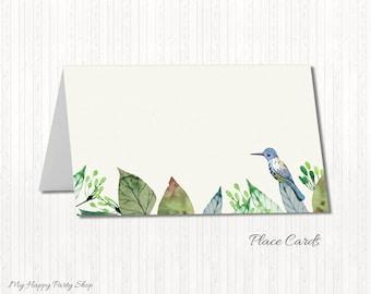Bird Place Cards, Printable Place Cards, Bird Name Cards, DIY Place Cards, Food Label Cards, Green, Bird Table Cards - PRINTABLE - BSU016