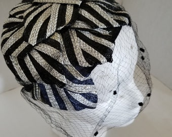 1950s Black & Grey Striped Half Hat with Dotted Veil