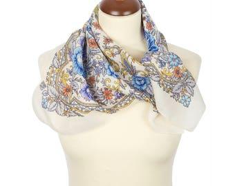PAVLOVO POSAD SHAWL 100% Wool Russian Platok Kerchief Square Scarf Women's Wrap 72x72cm Cape Pashmina Headband Wrap Birthday Gift 1658-2