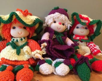 Vintage Strawberry Shortcake Dolls in Handmade outfits