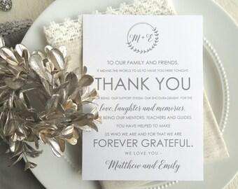 Wedding Reception Thank You Card   Wedding Thank You Card   Thank You Card   Thank You - Style 21 - Laurel BRANCHES COLLECTION