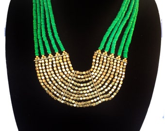 Green & Gold bib Necklace,Statement Jewelry,Holiday gift Jewelry,fall colors Necklace,modern by Taneesi