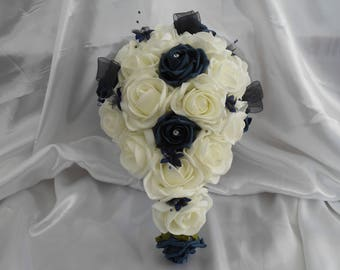 wedding bouquet navy blue ivory teardrop bouquet bridal bouquet brides bouquet soft touch roses navy blue ivory roses