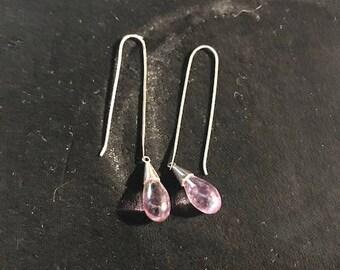 amethyst tear drop pierced earrings