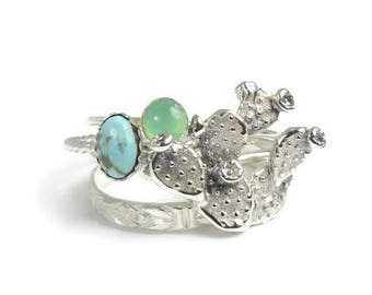 Cactus Rings, Prickly Pear Rings, Cacti ring set, sterling silver rings, Silver Cactus rings, silver stacking rings, Turquoise Rings, boho