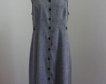 Vintage Sleeveless Dress/Jumper/Shift Dress   by Nicole Studio New York/Herringbone Pattern Boucle