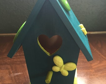 Teal and Lime Hand Painted Birdhouse Spring Flower Butterfly Garden Home Decor Jenuine Crafts